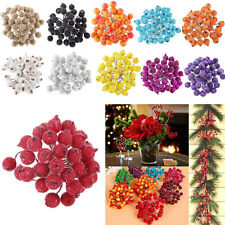 40pcs Mini Christmas Frosted Fruit Berry Holly Artificial Flower Art Decoration