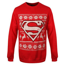 Official Superman Logo Norweger Nordic Rot Weihnachts Pullover - DC Comics Top