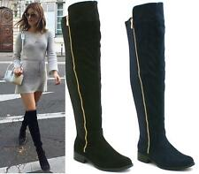 LADIES WOMENS FLAT LOW HEEL STRETCH WIDE LEG OVER THE KNEE THIGH HIGH BOOTS SIZE