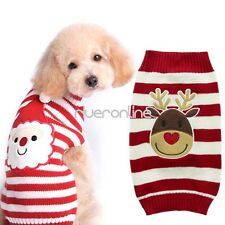 Pet Christmas Sweater Striped Dog Clothes Xmas Puppy Sweater Apparel Dogs & Cats