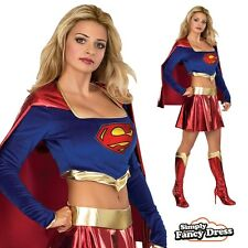 Ladies Sexy Supergirl Superhero Superwoman Fancy Dress Outfit Costume