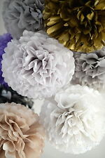 Metallic, sparkle,  printed tissue paper pompoms  - wedding party decorations