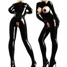 Sexy Womens Lingerie Crotchless Footed Leather Bodysuit Catsuit Clubwear Costume