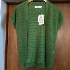 Nice Things By Paloma S/Greenfine Knit Short Sleeve Shrug Metallic Thread Size M