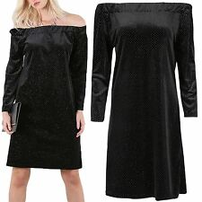 Ladies Womens Long Sleeve Off The Shoulder Velvet Glitter Tunic Shift Midi Dress