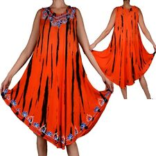 ÉTÉ SUPERPOSITION ROBE TUNIQUE BRODERIE 42 44 46 48 50 52 L XL XXL ORANGE STRAND