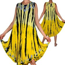 ÉTÉ SUPERPOSITION ROBE TUNIQUE BRODERIE 42 44 46 48 50 52 L XL XXL JAUNE STRAND