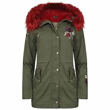 Womens Red Faux Fur Hooded Parka Flower Embroidery Zipped Jacket Coat