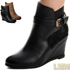 Platform Ankle Boots Wedge Heel Ankle Boots Ladies' Shoes Buckle 1037