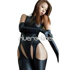 Sexy Women Black Faux Leather Leotard Bodysuit Clubwear Party Catsuit Jumpsuit