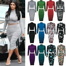 Womens Ladies Celebrity Inspired Turtle Neck Top Ruched Midi Skirt Co-Ord Set