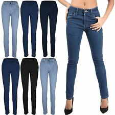Womens Ladies Regular Straight Tight Fitted Full Ankle Length Denim Jeans Pants