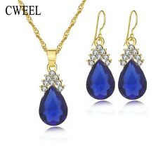 CWEEL Fashion Necklace Earrings Water Drop Pendant GoldJewelry Sets For Women Im