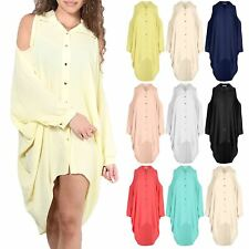 Ladies Womens Batwing Cold Shoulder Collared Button High Low Baggy Shirt Dress