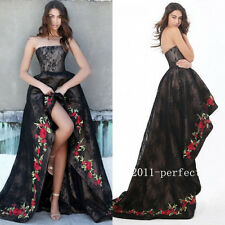 High Low Black Lace Evening Dresses Prom Formal Gowns With Rose Edge Custom