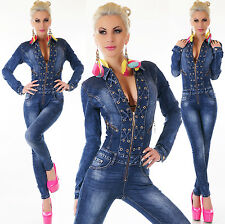 Sexy Women's Denim Jumpsuit Lacing Dark Blue Wash Skinny Legs Jeans Overall 6-14