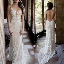 Summer Beach Wedding Dresses Sheer Backless Lace Appliques Bridal Gowns Custom