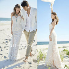 2017 Summer Sexy Boho Beach Wedding Dresses Lace Appliques Bridal Gowns Custom