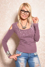 Sexy Damen Strickpullover Feinstrick Pullover Pulli Sweater Strass Cut-Outs XS-M