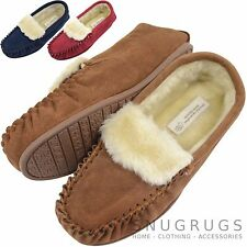 Ladies / Womens Suede Sheepskin Moccasins / Slippers with Rubber Sole