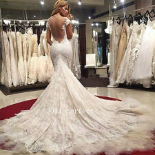 Sexy Mermaid Lace Appliques Wedding Dresses Sheer Backless Bridal Gowns Custom