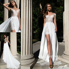 Elegant Embroidery Wedding Dresses Formal Lace Bridal Gowns With Chiffon Train