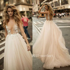 Sexy Sheer Appliques Top Wedding Dresses Formal Plunging Bridal Gowns Custom New