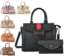 LADIES HANDBAG LEATHER STYLE BELT OVERFLAP TOTE SATCHEL PURSE SET SHOULDER BAG