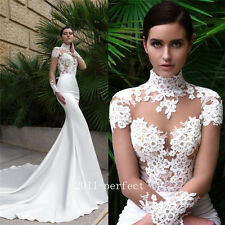 Vintage High V Neck Wedding Dresses Sheer Long Sleeve Sexy Mermaid Bridal Gowns