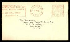 BARCLAYS BANK LTD LIVERPOOL APR 4 1951 RED PERMIT PAID AD COVER TO NEW YORK NY U