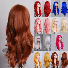 DIY Cosplay Full Head Ombre Wig Long Wavy Hairpiece Gradient Wig Short Hair Hot