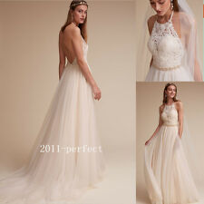 2017 Summer Beach Halter Wedding Dresses Backless Appliques Bridal Gowns Custom