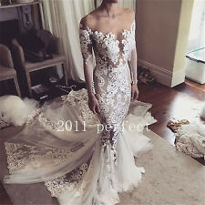2017 New Mermaid Wedding Dresses Sexy Off Shoulder Lace Bridal Gowns Custom
