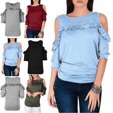 Womens Peplum Frill Cold Cut Shoulder 3/4 Sleeve Ribbed Side Ruched Knitted Top