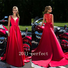 Plunging V Neck Red Evening Dresses Prom Party Formal Long Dress Gown 2017 New