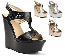 WOMENS CUT OUT METALLIC WEDGE HIGH HEEL PLATFORM LADIES SLINGBACK SANDALS SHOES