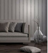 Fine Decor Wentworth Grey/Silver Stripe Glitter Wallpaper Feature Wall FD41704