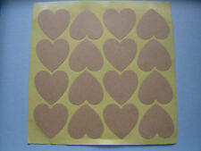 KRAFT Manilla BROWN Heart Stickers Shabby Chic Rustic Wedding Favours Gift Label
