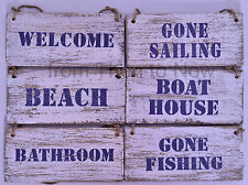 Chic Shabby Nautical Wooden Door Wall Beach Hut Plaque Sign Vintage Distressed