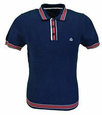 Merc London Retro Mod Navy Sadler Knitted Polo Shirts