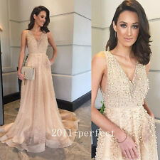 2017 Luxury Pearls Beaded Evening Dresses Elegant Formal Prom Gowns Custom New