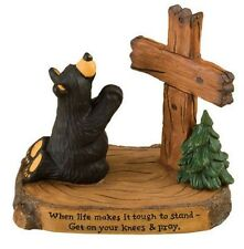 Jeff Fleming Bearfoots Praying Bear with Cross Figurine Big Sky Carvers New
