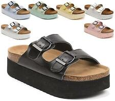 LADIES FLAT WEDGE CHUNKY PLATFORM SLIP ON FOOTBED TWO BUCKLE SANDALS MULES SHOES