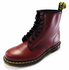 DR MARTENS 1460 Cherry Red Smooth Leather 8 Eyelet Boots