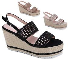 WOMENS LADIES PLATFORM WEDGE HEEL ANKLE BUCKLE ESPADRILLES SHOES SANDALS SIZE