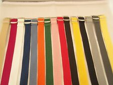 PLAITED BRAIDED NYLON  WATCH STRAP BAND SILVER BUCKLE 18MM,20MM,22MM,24MM