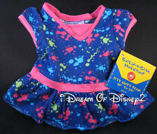 BUILD-A-BEAR PAINT SPLATTER DRESS FUCHSIA & BLUE TEDDY CLOTHES NEW
