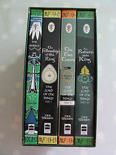 LORD OF THE RINGS TRILOGY AND THE HOBBIT BOX SET BY JRR TOLKIEN DATED 1996/7
