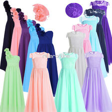 Flower Girls Chiffon Tulle Dresses Pageant Wedding Bridesmaid Party Ball Gown
