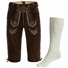 Men's Set Lederhosen marron oscuro,correas+Calcetine trenzado blanco Oktoberfest
